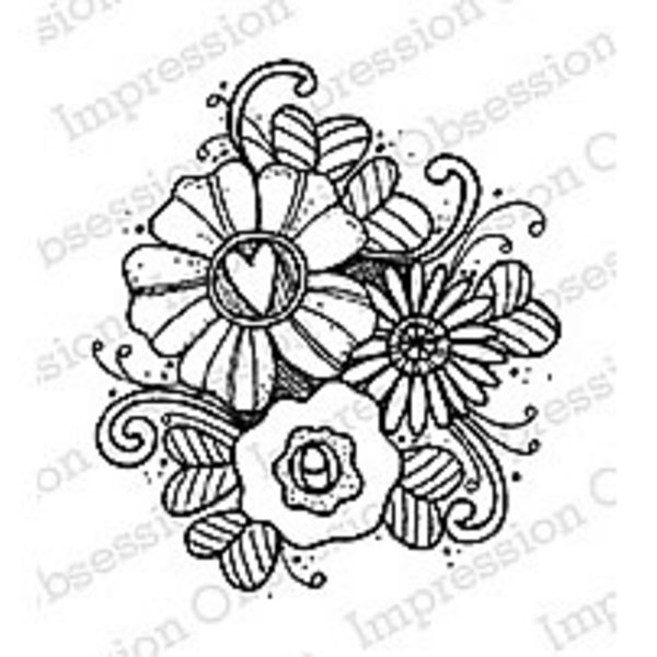 Impression Obsession Cling Stamp (flower trio)