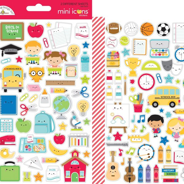 Doodlebug Mini Cardstock Stickers (school days icons)