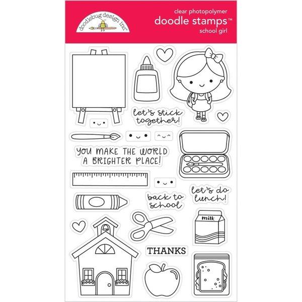 Doodlebug Clear Doodle Stamps (school girl)