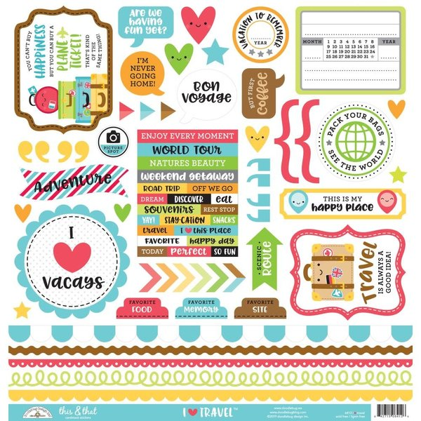 Doodlebug This & That Cardstock Stickers 12x12 (I heart travel)