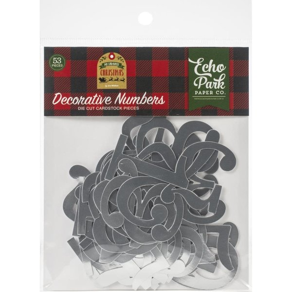 Echo Park Paper Cardstock Die-Cuts (decorative numbers silver foil)