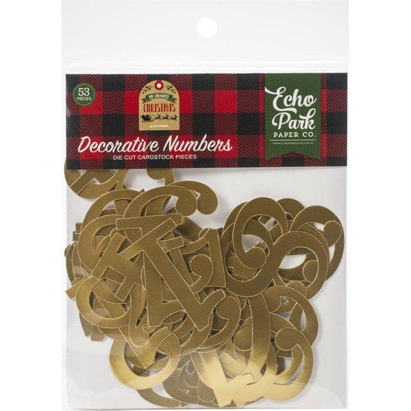 Echo Park Paper Cardstock Die-Cuts (decorative numbers gold foil)