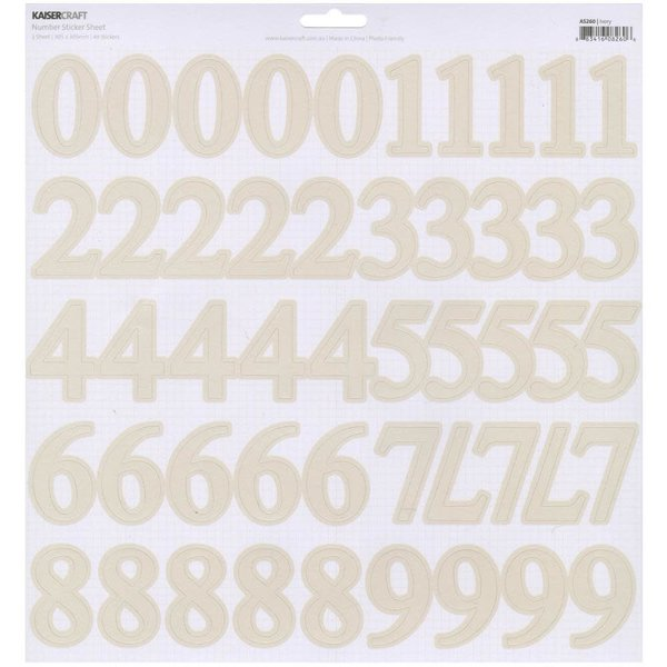 Kaisercraft Number Stickers (ivory)
