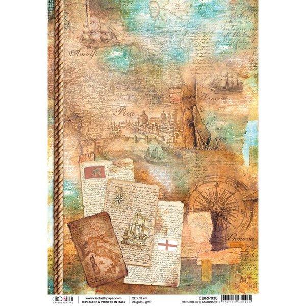 Ciao Bella Rice Paper Sheet A4 (repubbliche marinare)