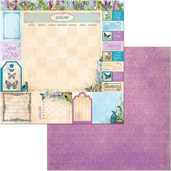 BoBunny Double-Sided Cardstock 12X12 (time & place - january)