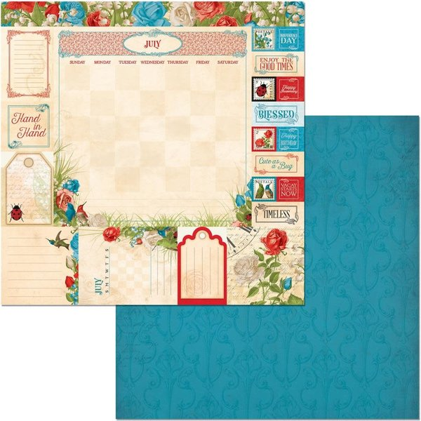 BoBunny Double-Sided Cardstock 12X12 (time & place - july)