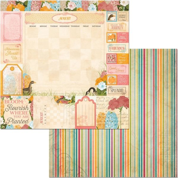 BoBunny Double-Sided Cardstock 12X12 (time & place - august)