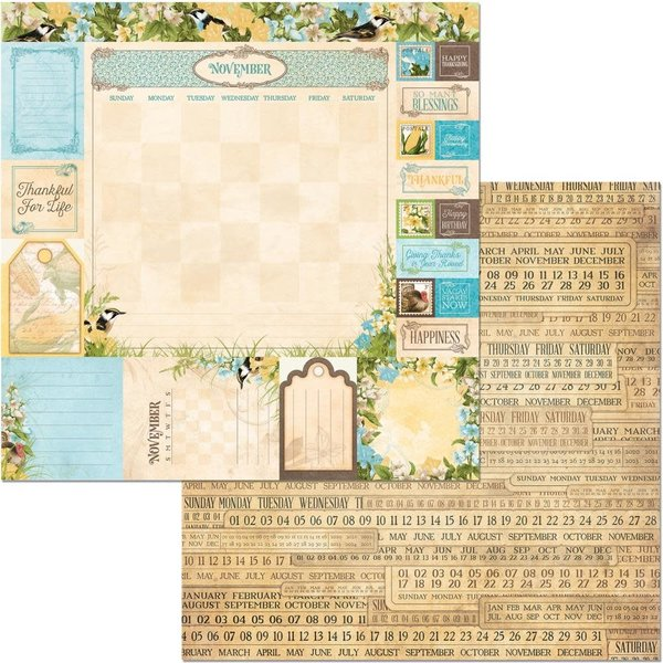 BoBunny Double-Sided Cardstock 12X12 (time & place - november)