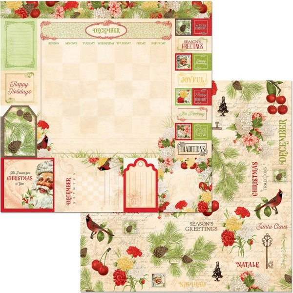 BoBunny Double-Sided Cardstock 12X12 (time & place - december)