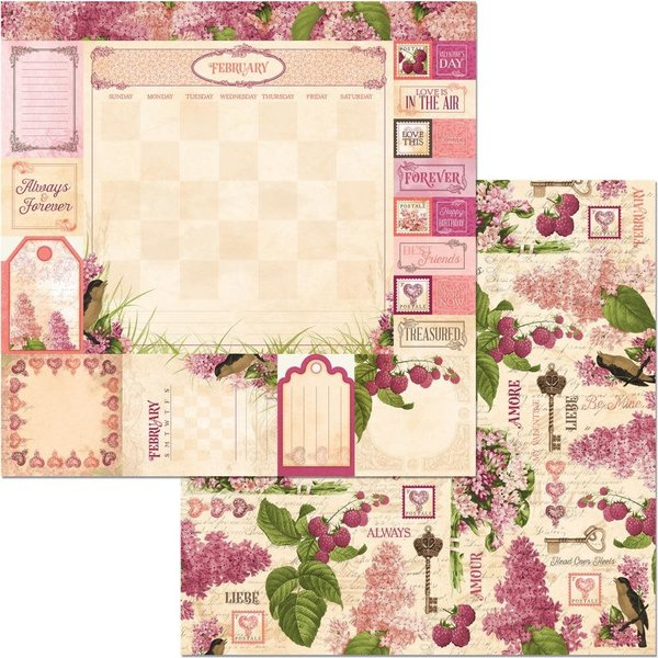 BoBunny Double-Sided Cardstock 12X12 (time & place - february)