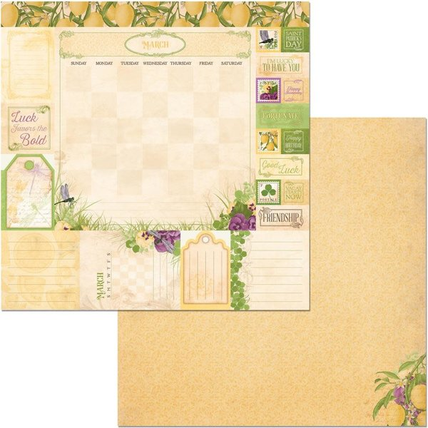BoBunny Double-Sided Cardstock 12X12 (time & place - march)