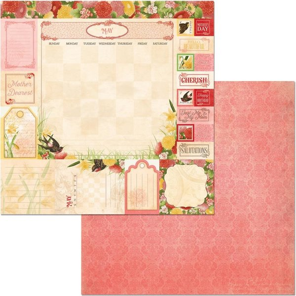 BoBunny Double-Sided Cardstock 12X12 (time & place - may)