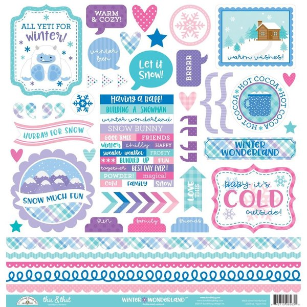 Doodlebug This & That Cardstock Stickers 12X12 (winter wonderland)