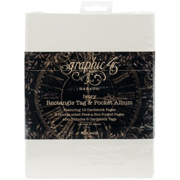 Graphic 45 Staples Tag & Pocket Album - (ivory rectangle)