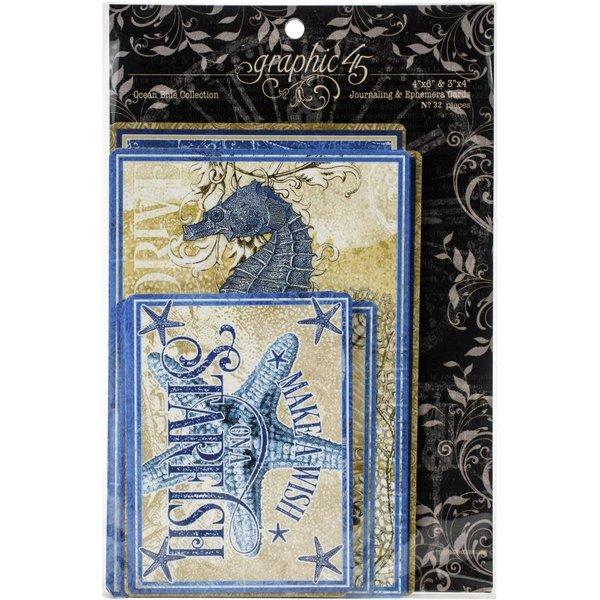 Graphic 45 Ephemera & Journaling Cards (ocean blue)
