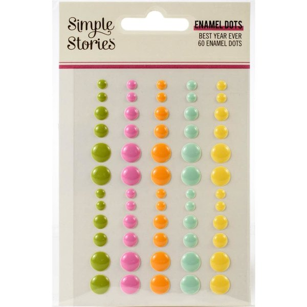 Simple Stories Enamel Dots Embellishments (best year ever)