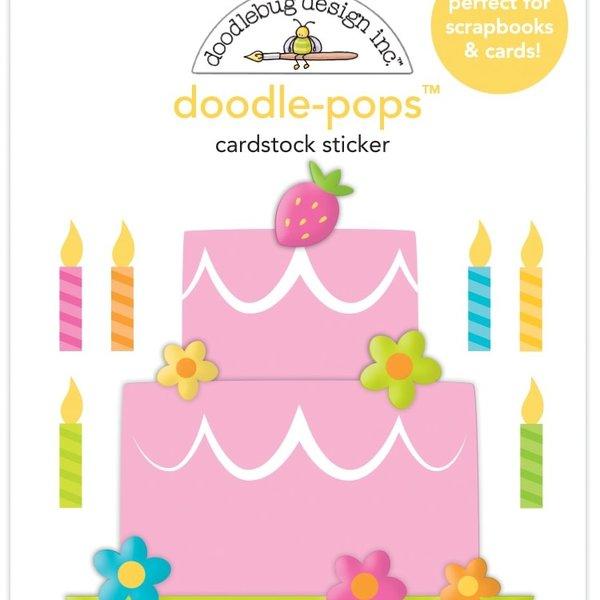 Doodlebug Doodle-Pops 3D Stickers - Hey Cupcake (make a wish