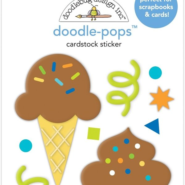 Doodlebug Doodle-Pops 3D Stickers - Party Time (cake & ice cream)