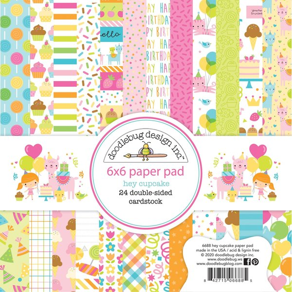 Doodlebug Double-Sided Paper Pad 6X6 (hey cupcake)