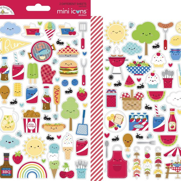 Doodlebug Mini Cardstock Stickers (bar-b-cute)