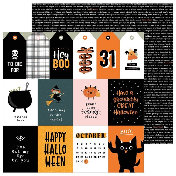 Pebbles Spoooky - 12x12 Double-Sided Cardstock (october 31)