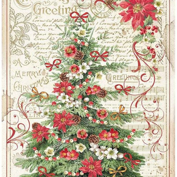 Stamperia Intl Classic Christmas - Rice Paper Sheet (greetings tree)