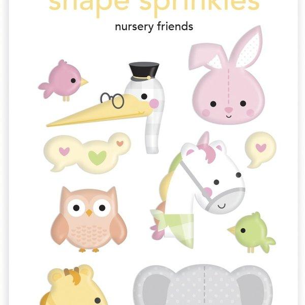 Doodlebug Sprinkles Adhesive Enamel Shapes - Special Delivery (nursery friends)