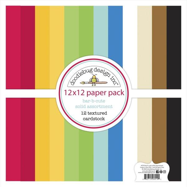 Doodlebug Textured Cardstock 12X12 Pack (bar-b-cute)