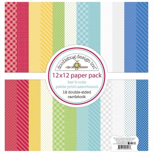 Doodlebug Petite Prints Cardstock 12X12 (bar-b-cute)