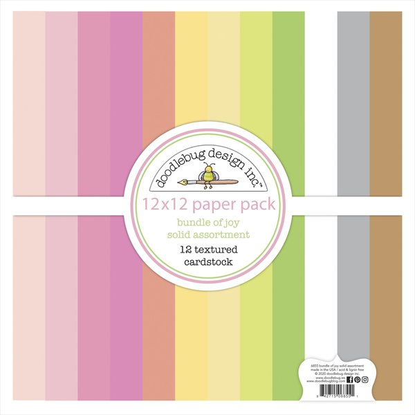 Doodlebug Textured Cardstock 12 X12 Pack (bundle of joy)