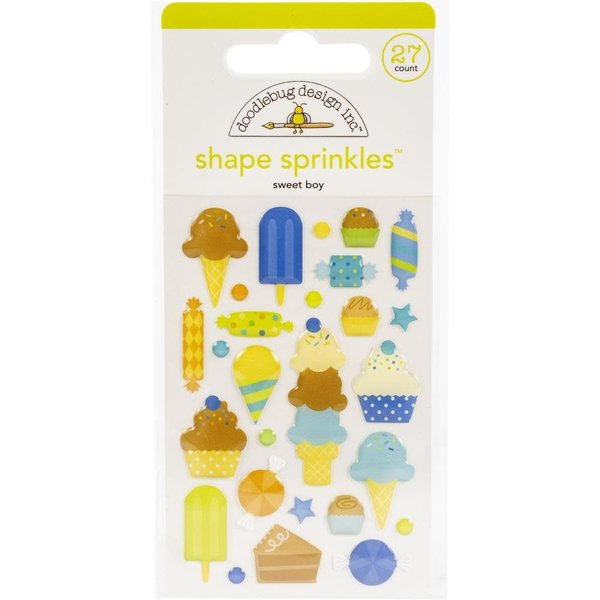 Doodlebug Sprinkles Adhesive Enamel Shapes - Party Time (sweet boy)