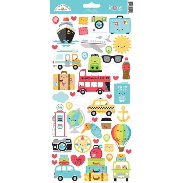 Doodlebug Cardstock Stickers 6X13 (I heart travel)