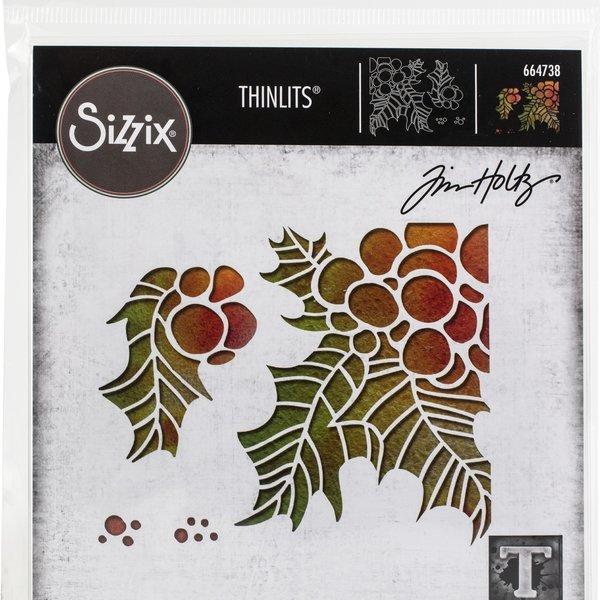 Tim Holtz - Sizzix Thinlits Dies By Tim Holtz 4/Pkg-Holly Pieces