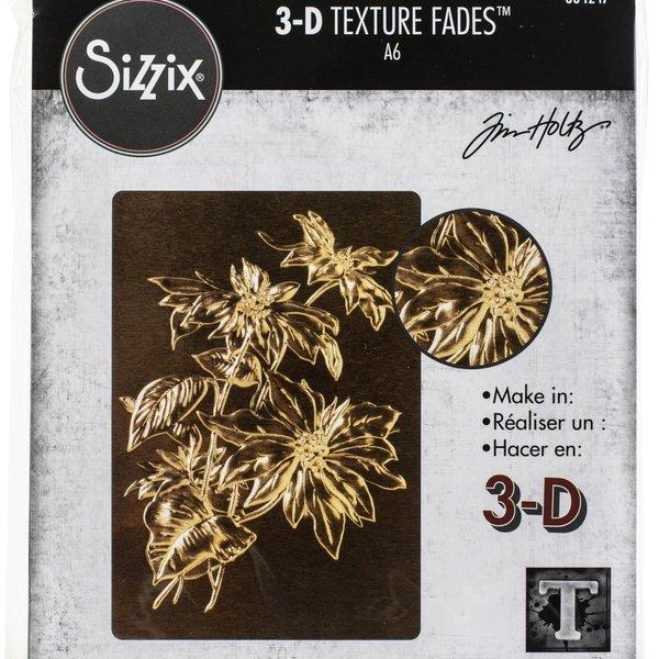 Tim Holtz - Sizzix Texture Fades Embossing Folder By Tim Holtz-Poinsettia