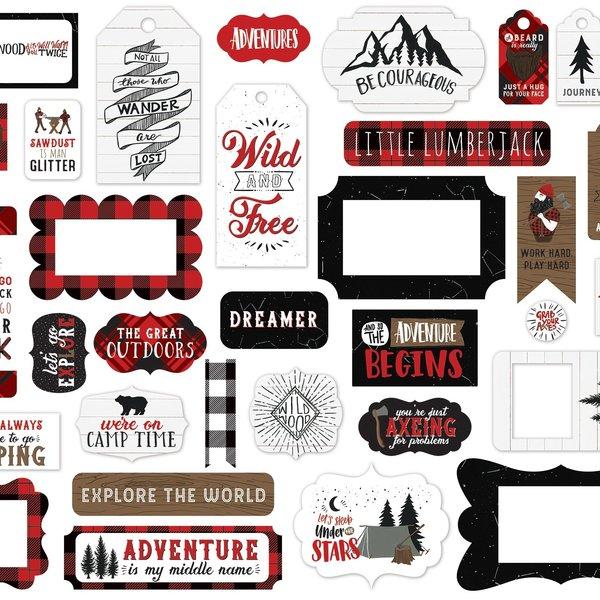Echo Park Paper Cardstock Ephemera 33/Pkg-Frames & Tags, Let's Lumberjack