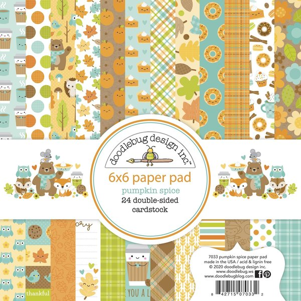 Doodlebug Double-Sided Paper Pad 6X6 24/Pkg-Pumpkin Spice, 12 Designs/2 Each