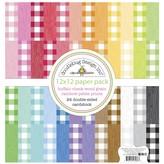 Doodlebug Petite Prints Double-Sided Cardstock 12X12  (buffalo check-wood grain rainbow)