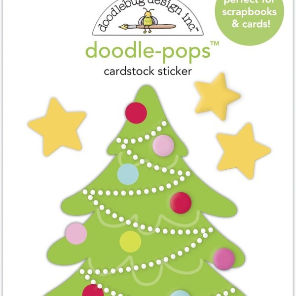 Doodlebug Doodle-Pops 3D Stickers - Night Before Christmas (tinsel time)