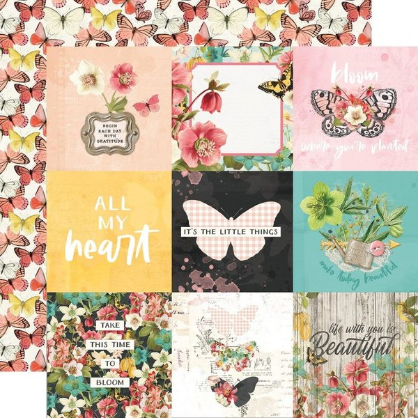 Simple Stories Double-Sided Cardstock 12X12 - Simple Vintage Cottage Fields (4x4 elements)