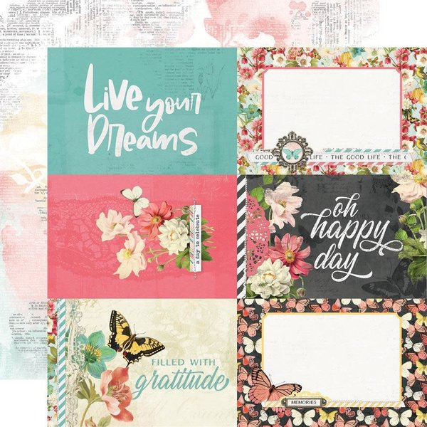Simple Stories Double-Sided Cardstock 12X12 - Simple Vintage Cottage Fields (4x6 elements)