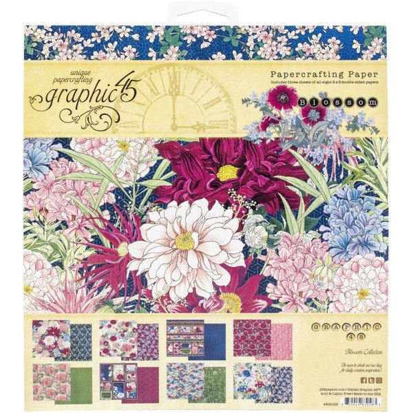 Graphic 45 Double-Sided Paper Pad 8X8 (blossom)