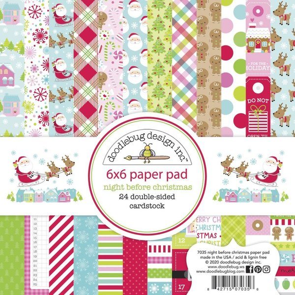 Doodlebug Double-Sided Paper Pad 6X6 (night before christmas)