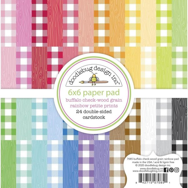 Doodlebug Petite Prints Double-Sided Paper Pad 6X6 (buffalo check-wood grain rainbow)