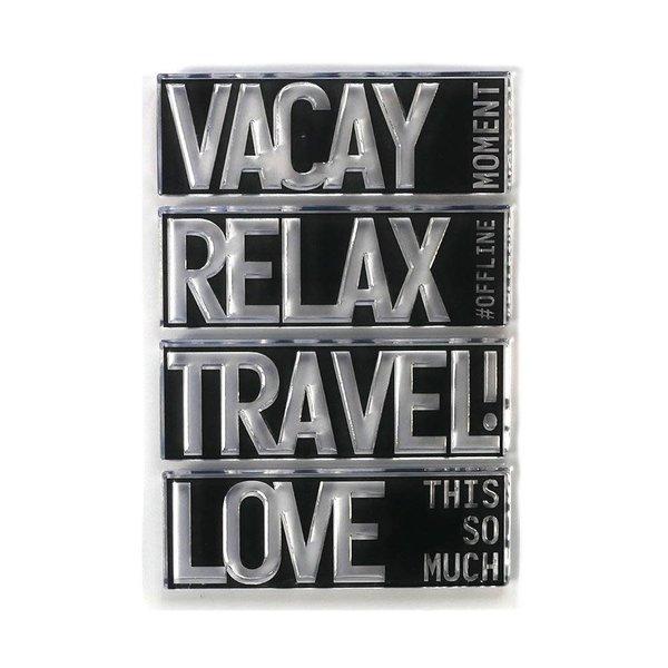 Elizabeth Craft Designs Clear Stamps Block Words (travel)