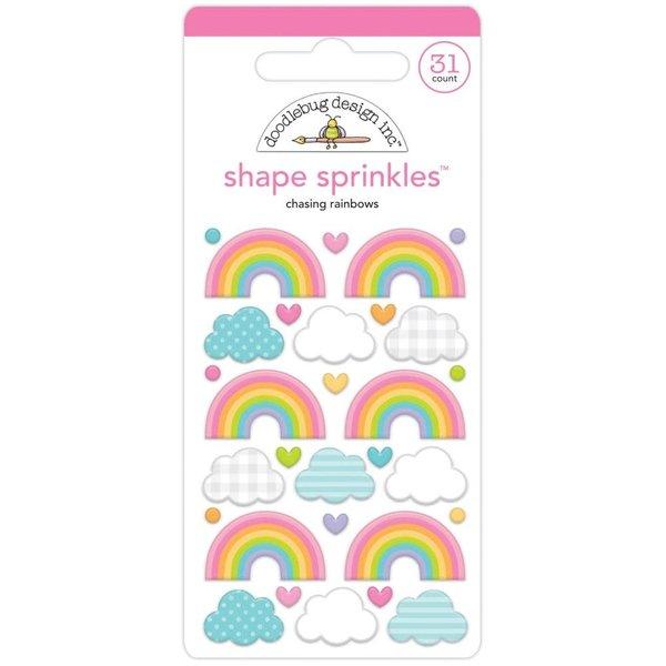 Doodlebug Sprinkles Adhesive Enamel Shapes (chasing rainbows)(fairy garden)