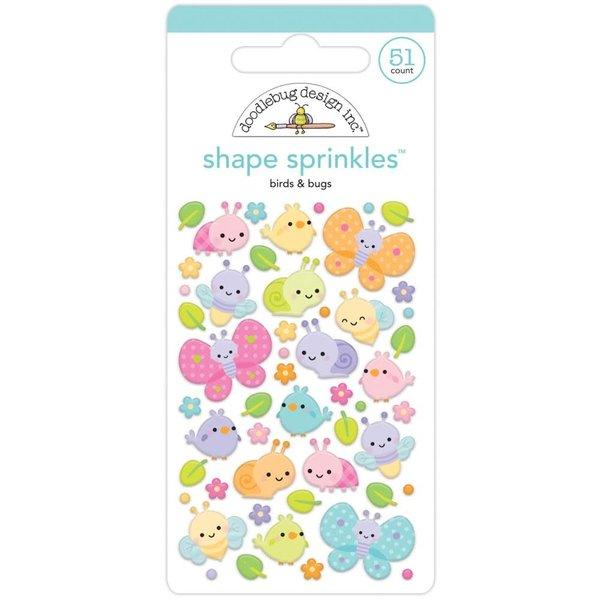 Doodlebug Sprinkles Adhesive Enamel Shapes (birds & bugs)(fairy garden)