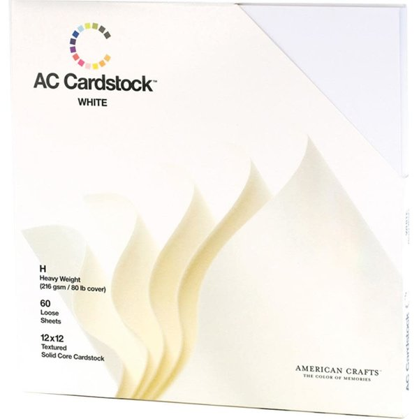 American Crafts 60 Pack Cardstock 12x12 (white)