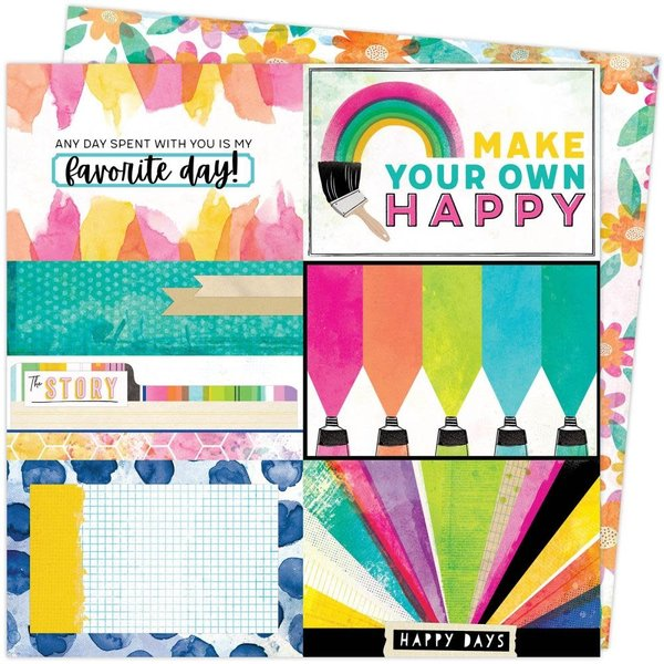 American Crafts Vicki Boutin Double-Sided Cardstock 12X12 - Color Study (canvas)