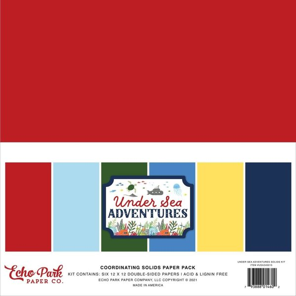 Echo Park Paper Double-Sided Solid Cardstock 12x12 (under sea adventures)