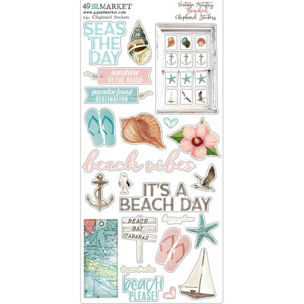 49 and Market Chipboard Stickers 6x12 (vintage artistry beached)